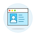 Icon depicting a profile screen management dashboard