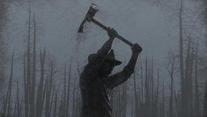 Artistic rendering of a firefighter wielding an ax in front of a backdrop of charred trees.