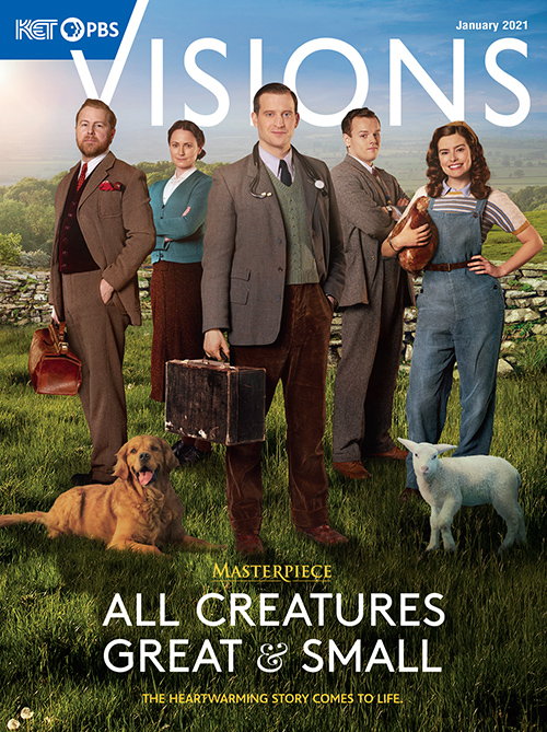 The cover of KET Visions magazine January 2021 issue featuring the cast of the new All Creatures Great and Small series on Masterpiece.