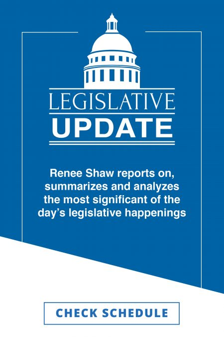 The Legislative Update logo features a white silhouette of Frankfort's capitol dome in white against a medium-blue background.