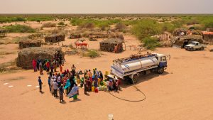 A water truck, supplied by Islamic Relief, delivers emergency water to Fuguho in Northern Somaliland in September 2019.