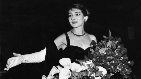 Maria Callas, Opera singer (1958) at curtain call after her concert at the Chicago Civic Opera House.