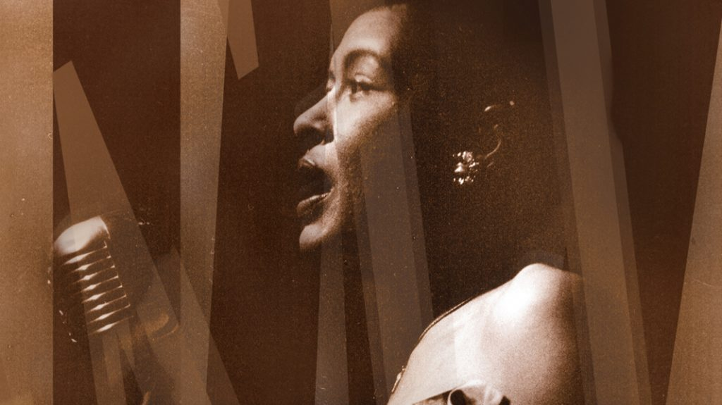 A close-up of Billie Holiday singing at an old-fashioned silver microphone with light lines across the image for mood.