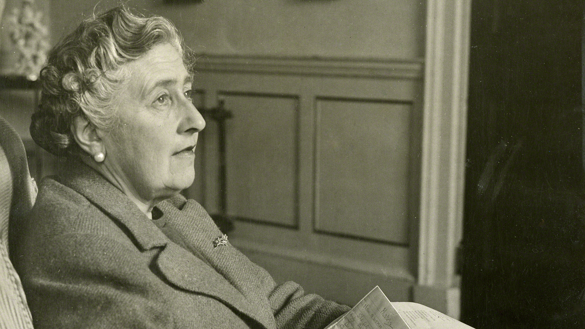A photo portrait of Agatha Christie, the most successful writer of all time, wrote 66 murder mysteries and several plays, including the longest-running play ever, The Mousetrap.