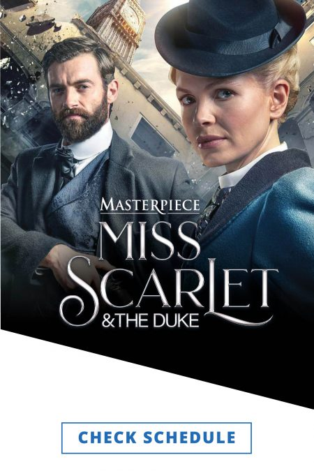 The actors playing Miss Scarlet and The Duke from the series pose in period costumes in blues, grays and whites with a skewed image of London buildings behind them.