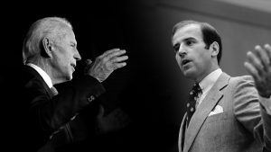 Composite image showing Joe Biden today and a young Joe Biden early in his career