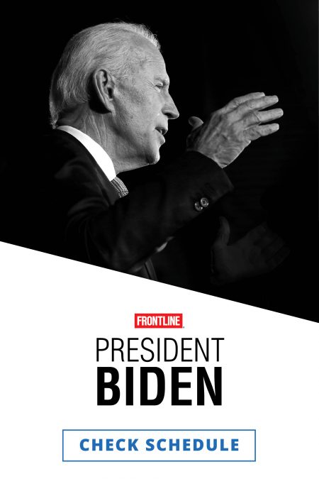 A black and white photo of Joe Biden in a dark suit and white shirt facing to the right with his right hand held mid-air in gesture.
