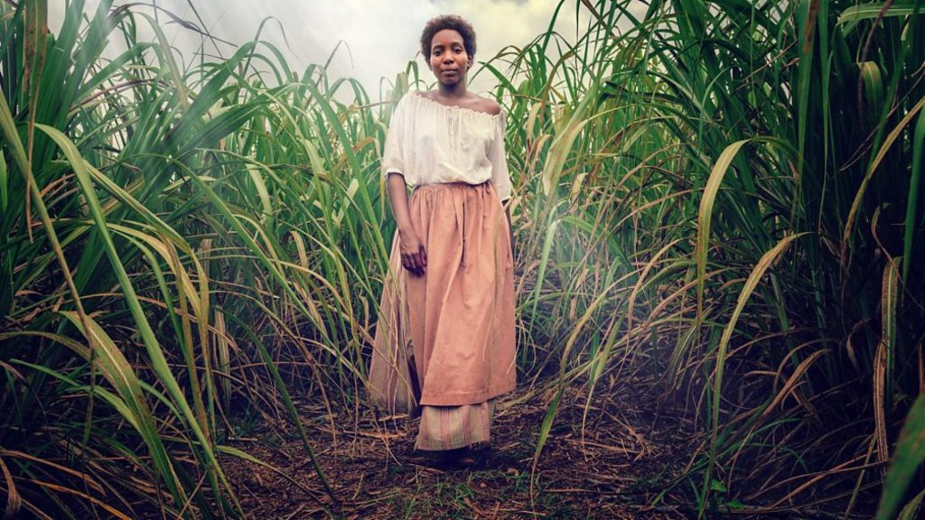A woman in a white blouse, tan long skirt, and a long peach-colored apron strides toward the camera on a path with sugar cane plants on either side of her.