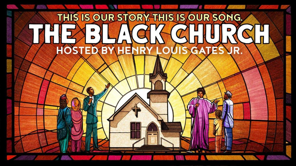 From behind an illustration of a church with a steeple, the sun radiates outward in multi-colored sections designed to look like stained glass. In the foreground are a minister, choir member, and three others.