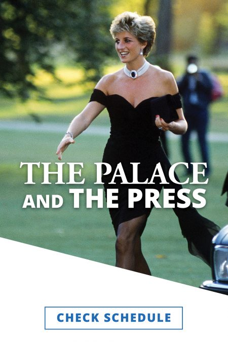 """Lady Diana smiling and wearing a pearl choker and her black knee-length """"revenge dress"""" in mid stride with her right hand outstretched and black clutch in her left hand."""