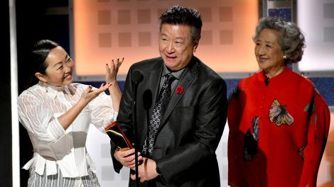Lulu Wang, Tzi Ma, and Zhao Shuzhen accept Best Intergenerational for 'The Farewell' onstage during AARP The Magazine's 19th Annual Movies For Grownups Awards at Beverly Wilshire, A Four Seasons Hotel on January 11, 2020 in Beverly Hills, California.