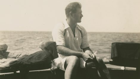 Ernest Hemingway on the fishing boat Anita circa 1929.
