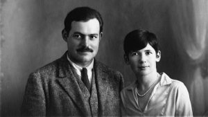 Ernest Hemingway and with his second wife, Pauline Pfeiffer. Photo taken on their wedding day. Paris, France, May 10, 1927.