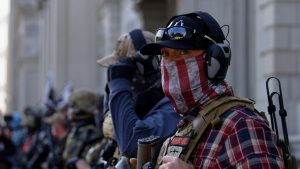 Men in quasi-military clothing and tactical gear at a rally in Richmond, Virginia, in November 2020.