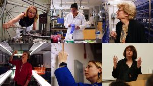 Composite image showing female scientists at work in various settings