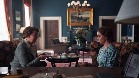 Harriet Sansom Harris as Eleanor Roosevelt and Sofia Helin as Crown Princess Martha having tea in a scene from Atlantic Crossing
