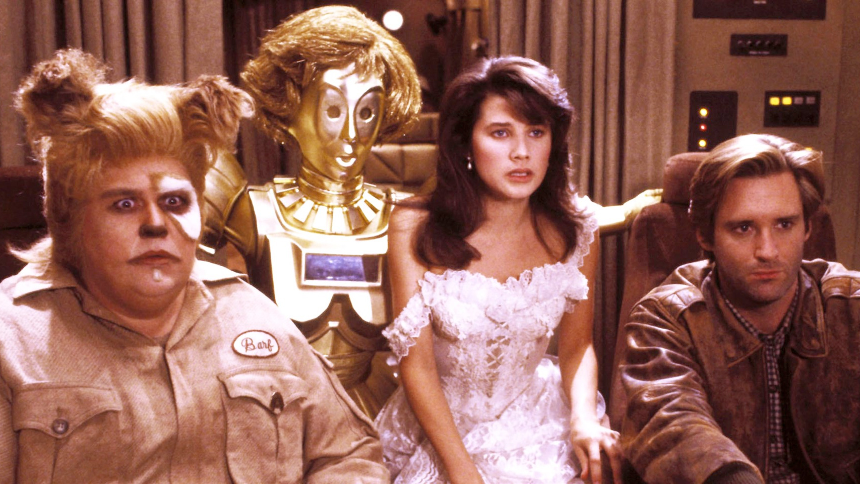 The cast of the movie Spaceballs in a still from the film.