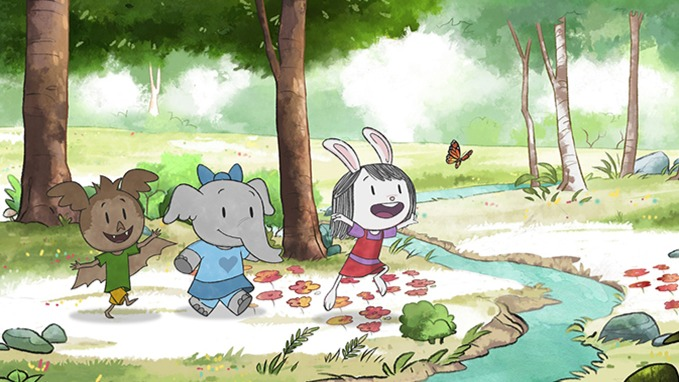 Elinor and her friends running after a butterfly toward a creek.