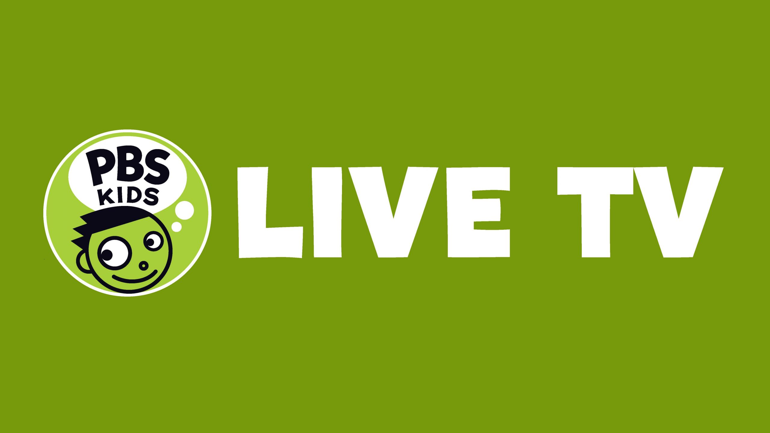 PBS KIDS logo with the words LIVE TV on a green background.