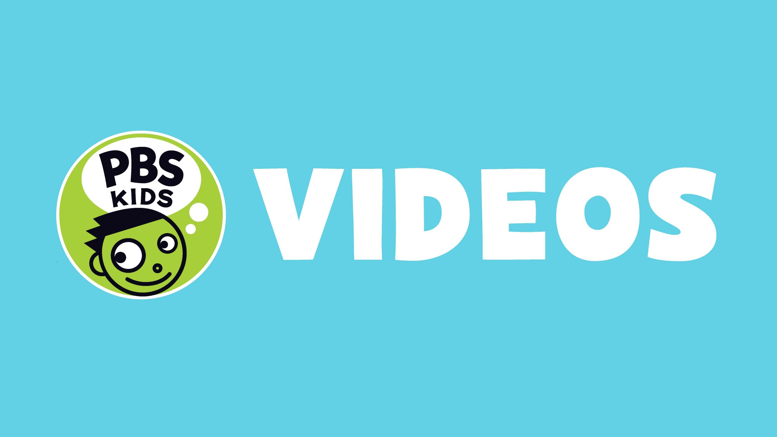 PBS KIDS logo with the word VIDEOS on a light-blue background.