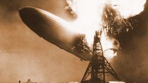 Sepia toned photo of the Hindenburg disaster