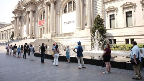 isitors queue to enter as The Met reopens in August 2020 after Covid 19 lockdown closure.
