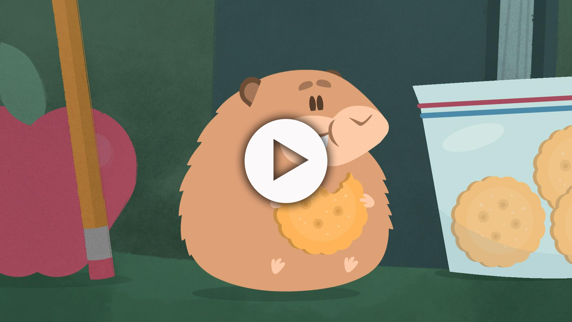 Hammie the Hampster, an animated character, eating a cracker or cookie with more in a zip bag nearby.