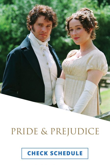 Colin Firth and Jennifer Ehle dressed as characters from Pride and Prejudice.