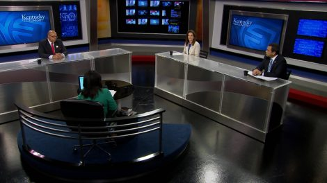 Renee Shaw interviews guests on the set of Kentucky Tonight.