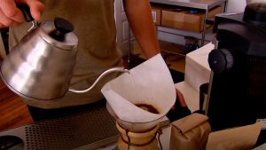 Pour over coffee being made at Hardin Coffee