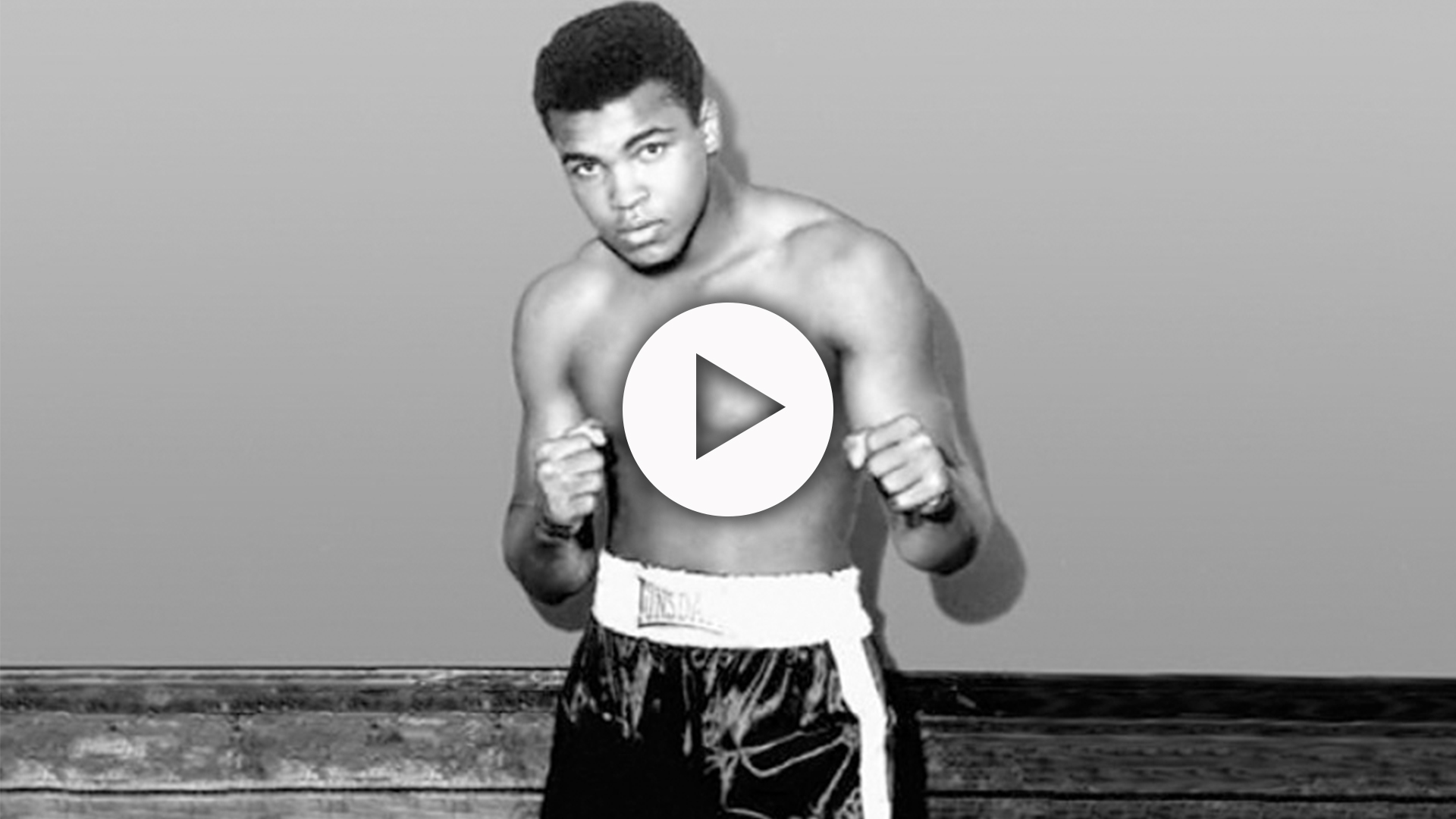 Muhammad Ali in a boxing pose.