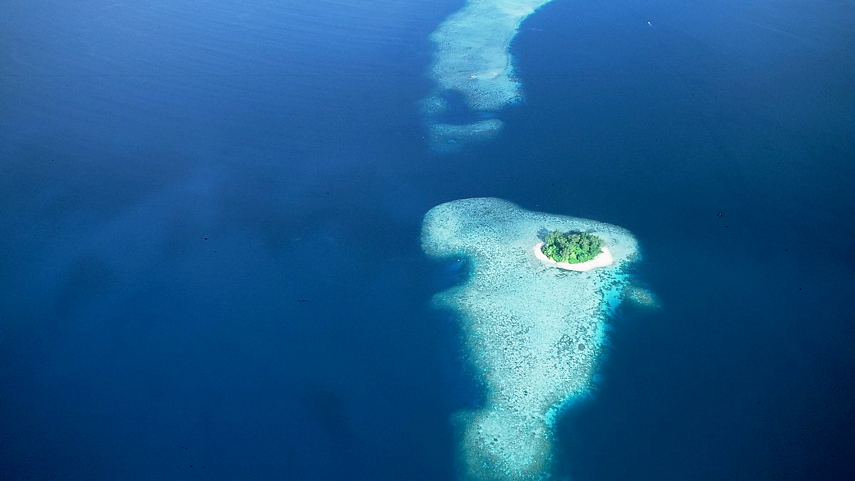 Isolated islands in seen from above