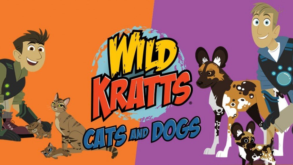 Cartoon images of the Kratt brothers along with some wild cats and dogs and the show logo.
