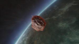 An asteroid moving toward earth