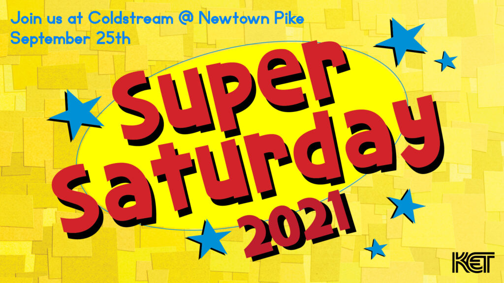 Super Saturday logo in red on yellow background with blue stars and the event date and location.