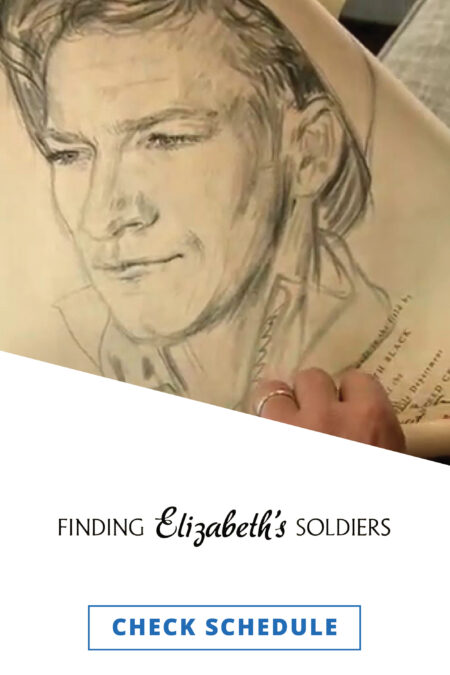 A hand making a charcoal drawing of a soldier in a combat helmet.