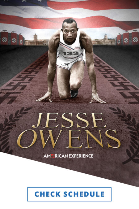 A collage of Jesse Owens crouched down facing the viewer in track starting black along a runner with swastikas on either side with building with Nazi flags in the back ground along with park of a very large American flag.