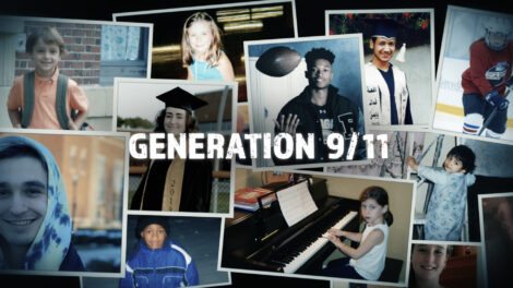 """Snapshots of the young people featured in the documentary with a text overlay that says """"Generation 9/11"""""""