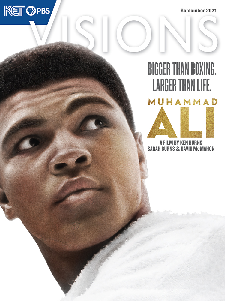 A close up of Muhammad Ali looking over his left shoulder. The copy includes the magazine name, Visions, and the copy: Bigger than boxing. Larger than life. Muhammad Ali. A film by Ken Burns, Sarah Burns and David McMahon.