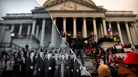 An image of the Capitol during the 2021 insurrection overlaid on a black-and-white image of the Capitol in 2001 with George W. Bush giving a speech surrounded by cabinet members and congresspeople.