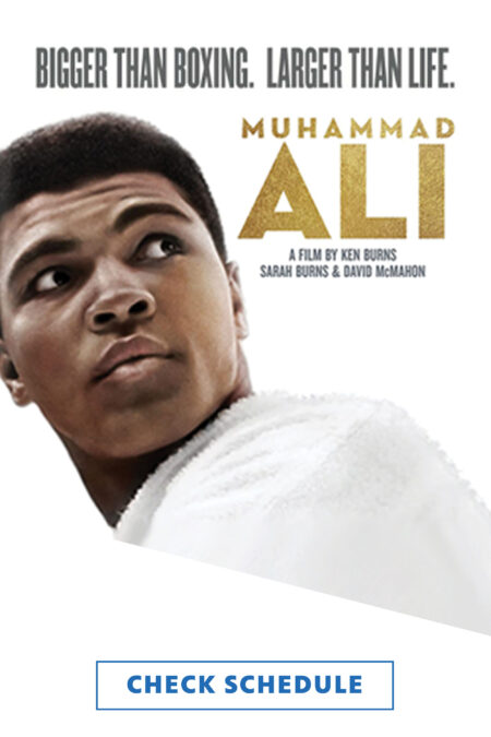 """Muhammad Ali looking up and over his left shoulder. Includes the tagline: """"Bigger than boxing. Larger than life."""" as well as the program title and a line crediting the filmmakers: Ken Burns, Sarah Burns, and David McMahon."""
