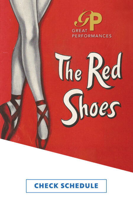 An illustration of a ballet dancer's legs with white tights and red toe shoes. The series and episode titles are included.