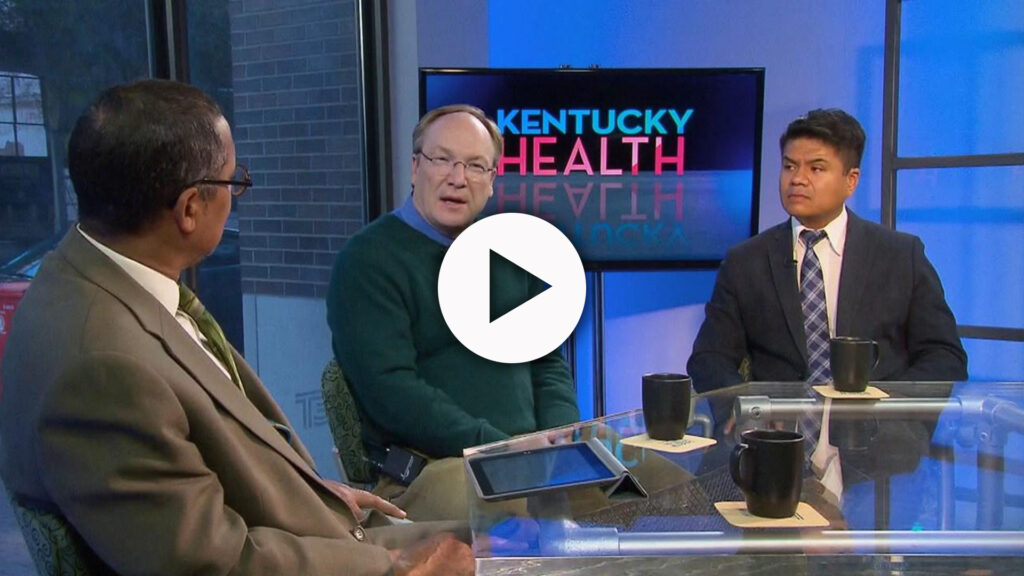 The host and guests on the Kentucky Health set.