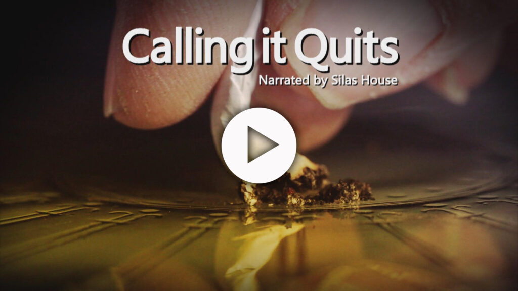 A close-up of fingers crushing a cigarette on a surface with the show logo superimposed over the image.