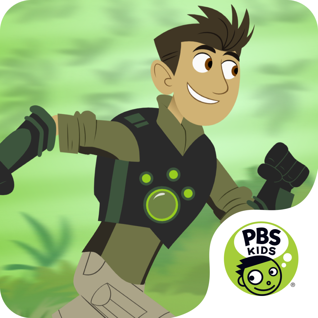 A character from Wild Kratts program and the PBS KIDS logo
