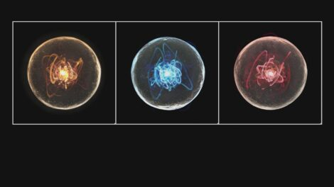 Illustration of three neutrinos, depicted as orange, blue, and red squiggles inside circles on a black background