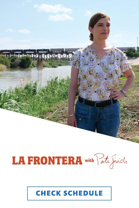 Chef Pati Jinich standing, hand on hip, near a waterway with her hair in a bun and wearing a short-sleeved floral blouse and jeans.