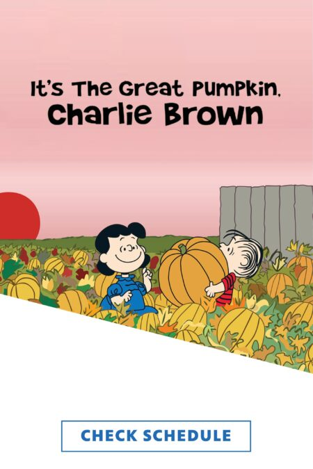 Lucy and Linus in a pumpkin patch with the setting sun in the background and the show title superimposed over a pink sky.