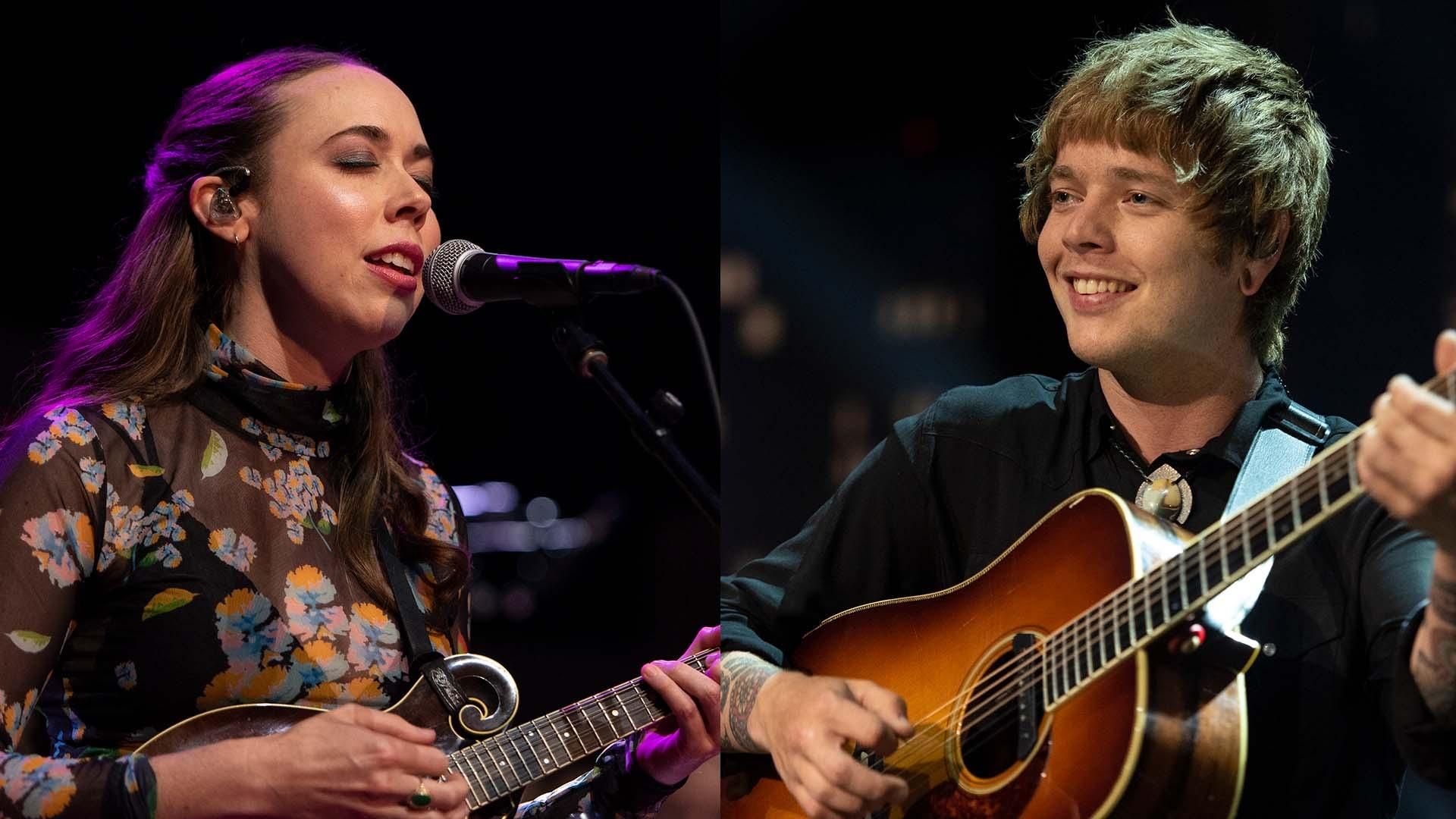 Photos of Sarah Jarosz and Billy Strings singing and playing guitar on stage