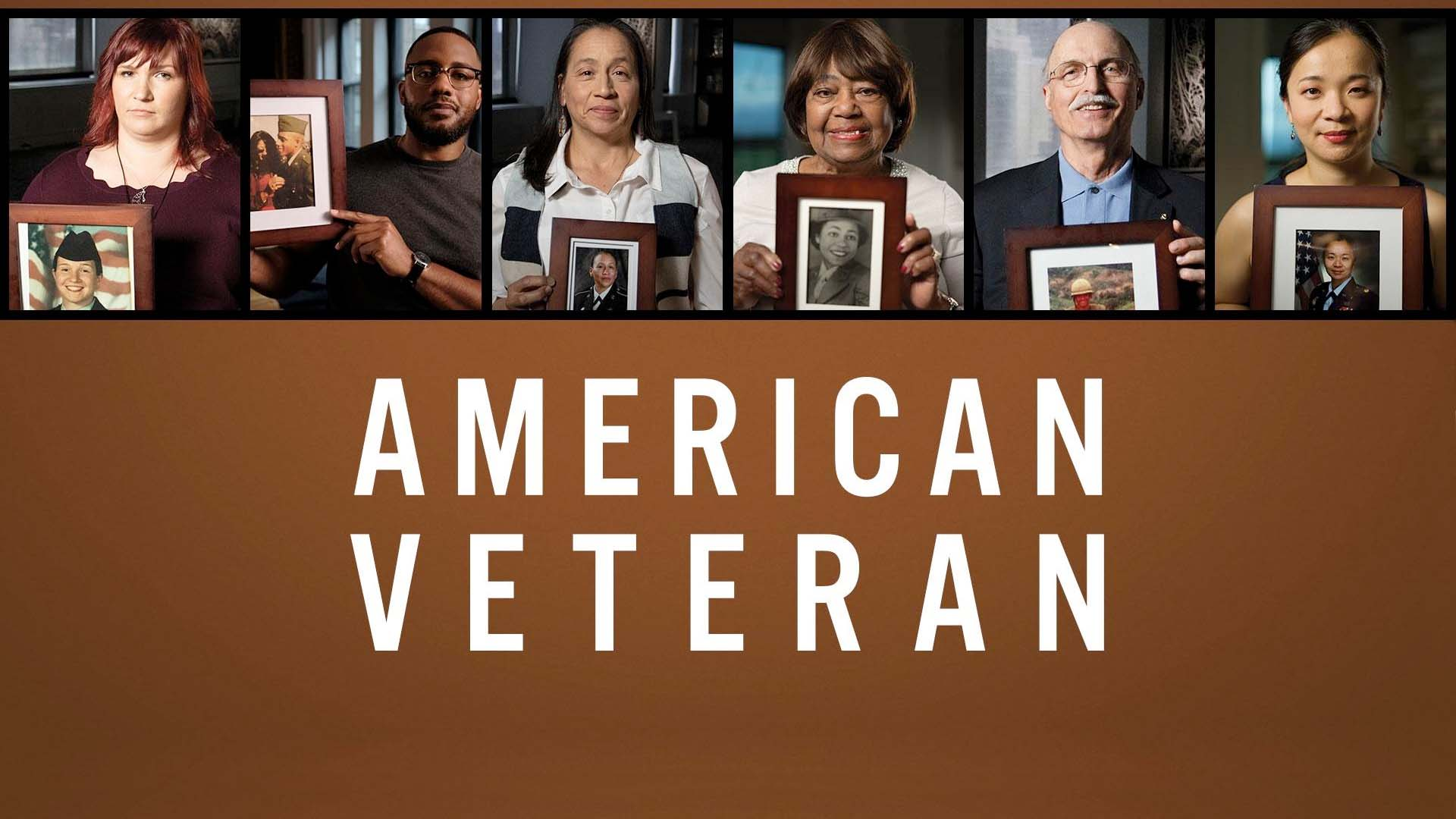 """Snapshots of veterans holding their military service photos over the text """"American Veteran"""""""